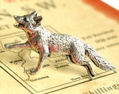 wild fox, antiqued pewter silver plated ring