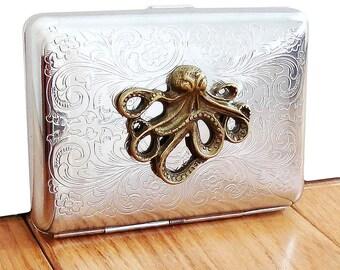 Octopus Cigarette Case or Business Card Holder. Scrolly Ornate Pattern.