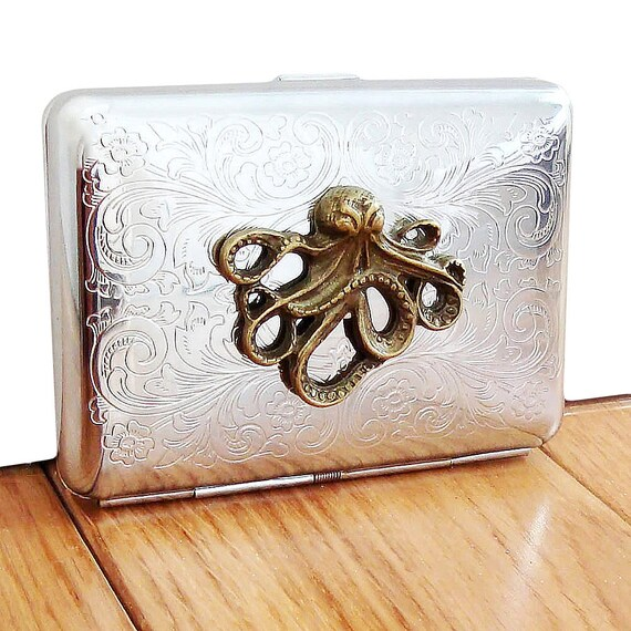 Octopus Cigarette Case or Business Card Holder. Scrolly Ornate Pattern.