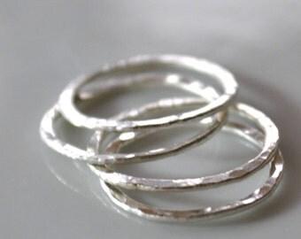 Fine Silver Circles, Qty 4, 15mm