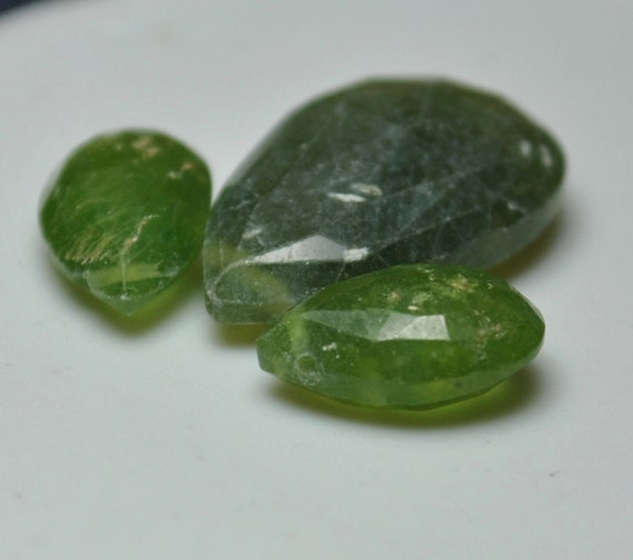 Idocrase/Vesuvianite Pear Briolette Trio 6-10x10-15mm