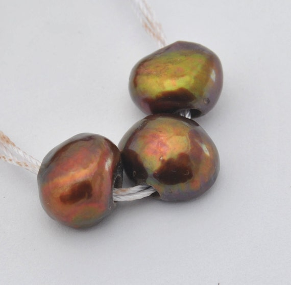 Large Hole Freshwater Pearl, chocolate, Qty 3, 10mm