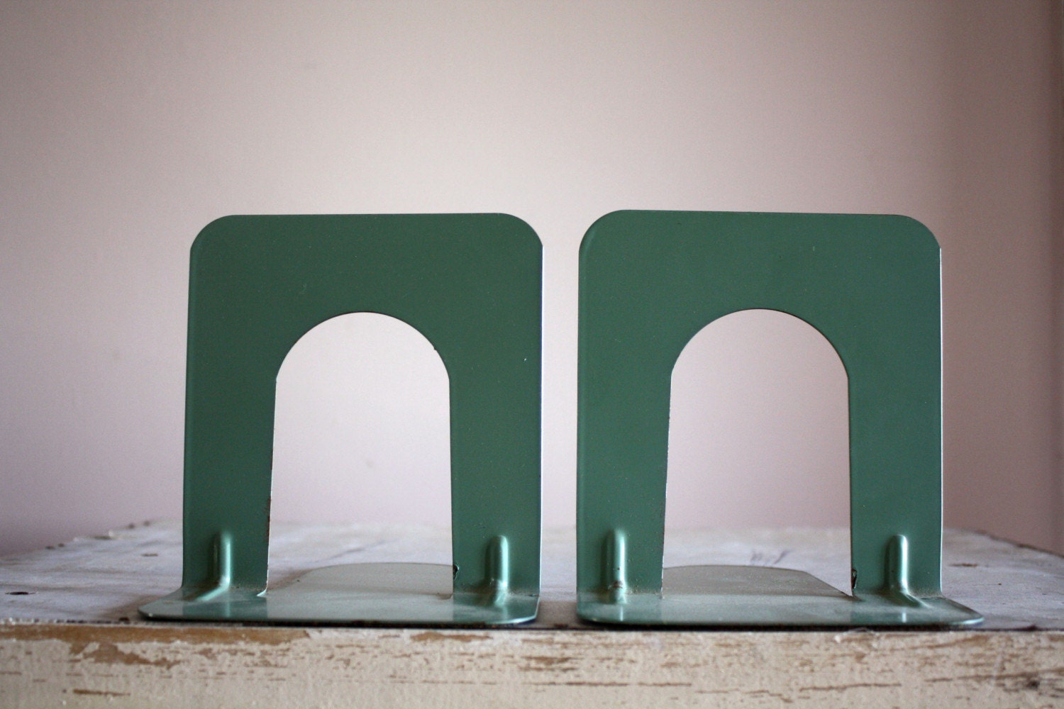 Vintage Library Metal Book Ends Bookends Mint Green