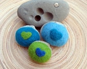 SHOP CLOSING SALE - Sea Shells And Wool - Needle Felted - Cool Blues And Greens