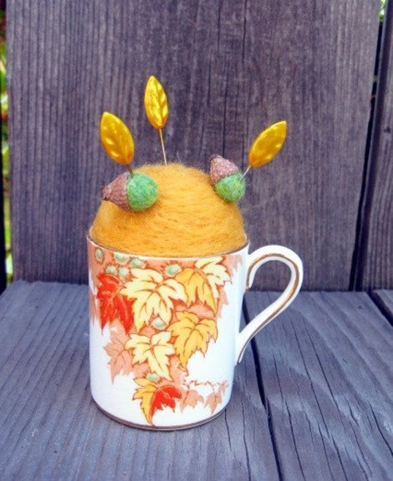 Autumn And Acorns Pin Cushion - Needle Felted - In Bone China Cup
