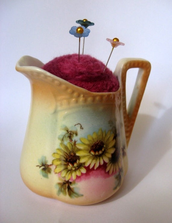Needle Felted Pin Cushion in Vintage Flowered Ceramic Pitcher