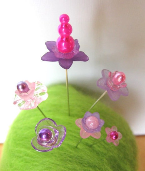 A Garden Of Stick Pins - Pinks And Purples - Set of 6