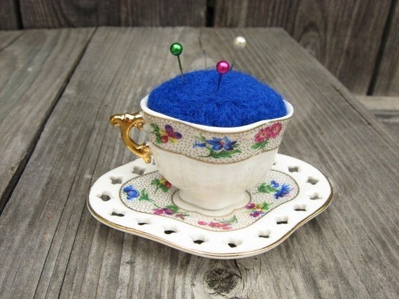 Needle Felted  Pin Cushion - Tea Time