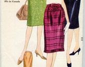 1962 Vogue 5315 Sewing Pattern Vintage Retro Skirt Size 12 mod slim skirt darted