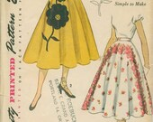 1952 Simplicity 3560 Full Skirt Sewing Pattern Vintage Size 14 Very Dramatic With Transfers