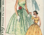 1950s Dress Simplicity 2089 Sewing Pattern Vintage Size 11 Full Rockabilly Skirt Evening Gown Cummerbund