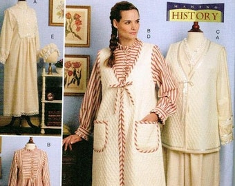 Butterick 5299 Historical Retro House coat Pattern XS-S-M Nightgown Robe
