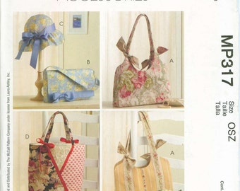Laura Ashley Sun Hat Purse hand bag tote sewing pattern McCalls 4400 OOP