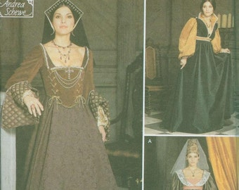 Renaissance Costume Gown Patterns Simplicity 9929 Sizes 6-8-10-12 Baronness Maiden OOP