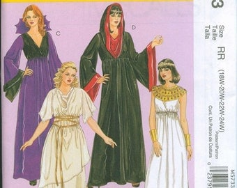 McCalls 5733 Gothic Goddess Witch Grecian Dress Hooded Witch Costume Sewing Pattern Sizes 8-10-12-14-16