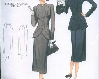 1947 Sewing Pattern Vintage styled Vogue 1019 Size 6-8-10-12 reissue Skirt Suit back flounce