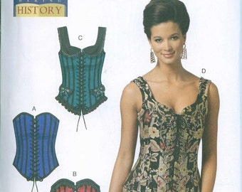 Corset Stays Bodice Sewing Pattern Renaissance Medieval Butterick 5662 Sizes 6-8-10-12-14