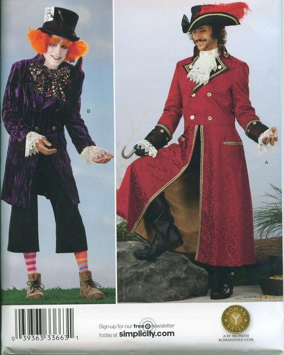 Simplicity 2333 Mens Pirate Captain Hook or Mad Hatter Costume Sewing Pattern Large and Extra Large
