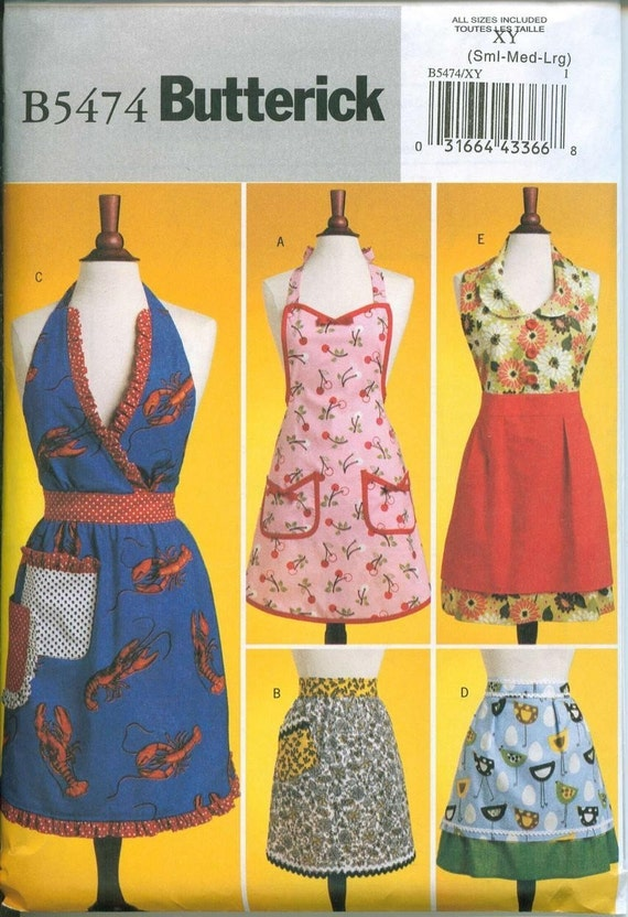 Retro Style Butterick 5474 Apron Sewing Pattern Vintage Look Sizes S-M-L