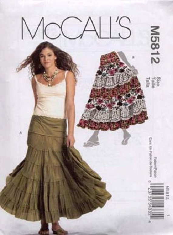 Sewing Pattern Mccall S 5108 Tiered Skirt Sizes By
