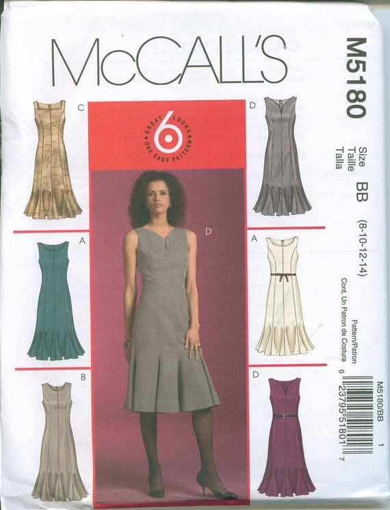 Womens Sewing Pattern McCalls 5180 Sizes 8-10-12-14 Six Easy Dress Styles