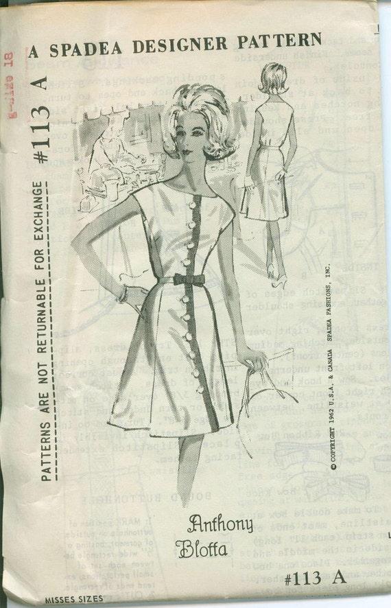 1962 Spadea 113 Dress Sewing Pattern Vintage Size 18 Shirt dress A Line Anthony Blotta
