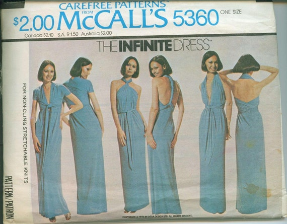 1976 McCalls Infinite Dress 5360 Sewing Pattern Vintage Easy to Sew One Size Fits Most