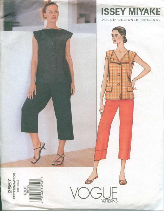Vogue 2667 Issey Miyake Designer Original Pattern Sizes 6-8-10 Tunic Capris OOP Uncut