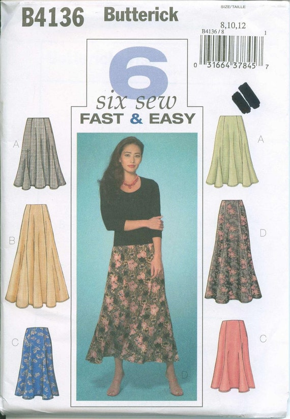 OOP Womens Pattern Sizes Butterick 4136 Adorable Skirts Gored Sizes 8-10-12 Six Sew Fast and Easy