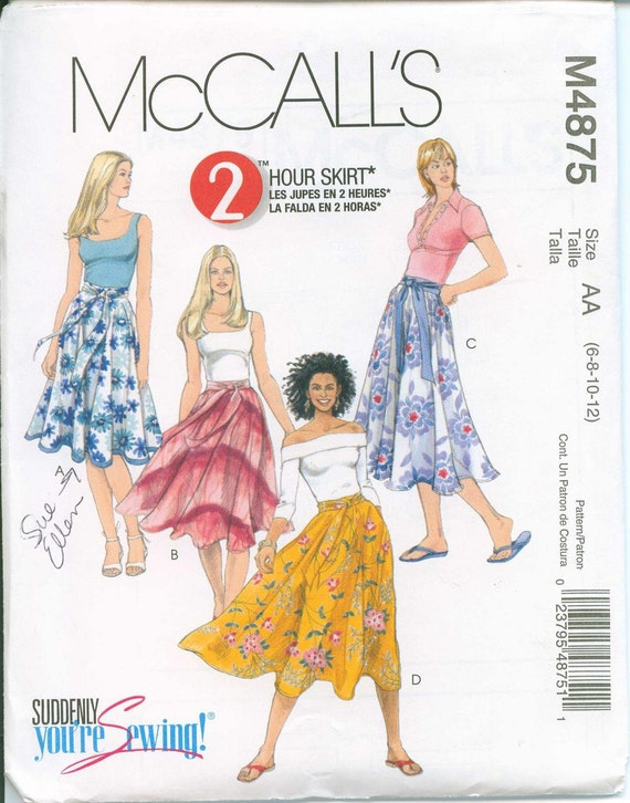 OOP Womens Pattern Sizes McCalls 4875 Adorable Skirts Boho Sizes 6-8-10-12 Full Tie Belt