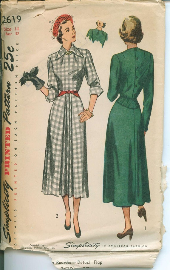 1940s Simplicity 2619 Unique Neckline Dress Sewing Pattern Vintage Size 14 Cuff Sleeves Front Pleats UNCUT
