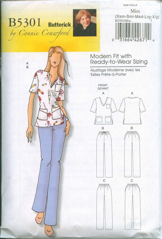 Womens Scrubs Pattern Sizes Butterick 5301 Sizes XS-S-M-L-XL Easy to Sew Modern Fit Sizing