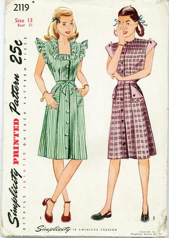 1947 Simplicity Day Dress Gown Sewing Pattern Vintage 2119 Sz 13 Square neckline