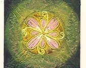 May 20 - Original Abstract Textured Painting on Recycle Mat Board 5x5 inch / Green / Yellow / Pink / Gold