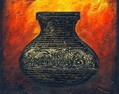Firery Urn - Original Abstract Textured Painting on Canvas 8 X 8 inch / Red / Gold / Yellow / Black