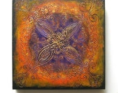 Romance - Original Abstract Textured Painting on Canvas 12x12 inch / Indian Rangoli Pattern / Purple / Orange / Gold / Black