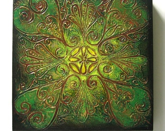 Floral - Original Abstract Rangoli Textured Painting on Canvas 12x12 inch / Green / Yellow / Gold / Brown / Bohemian Decor / Eclectic