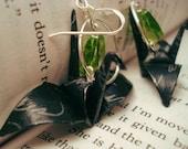 Black Peace Crane Earrings