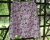 Woman Skirt Pink Greens Browns Retro Flowers for Me  M/L