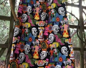 Day of the Dead Print Woman's Skirt   waist 32-35""