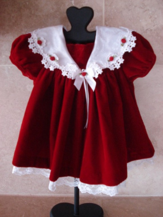 Red Velvet Holiday Baby Girl Dress 3 To 6 Months