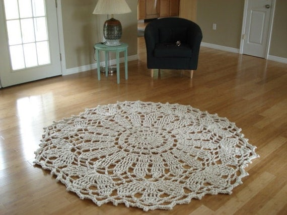 Organic Natural Rope Doily Rug 182.9  cm 72""