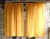 Vintage Sheer Golden Orange Curtain Drape Panels
