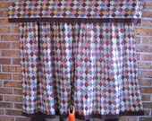 Vintage Curtains Vintage Calico Curtains Kitchen Curtains Cafe Curtains Checked Cottage Style Country Chic