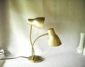 Vintage Gooseneck Lamp Metal Mid Century Modern Lamp Adjustable Mad Men Double Gooseneck Brass Finish Atomic Style
