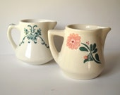Vintage Creamers Syrup Pitchers Diner Ware MiniPitcher Shabby Chic Retro Kitchen Flowers Pink Teal Transferware Mid Century
