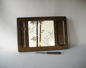 Vintage Cheese Board Cheese Tray Serving Tray Mid Century Modern Asian Wood Ceramic Tile Knife Bamboo
