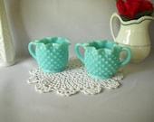 Vintage Milk Glass Cream and Sugar Fenton Hobnail Pattern Turquoise Creamer Pitcher Vintage Wedding Cottage Style