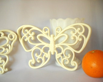 Vintage Butterfly Wall Hanging Homco Faux Bamboo Garden Home Decor Retro Butterflies Spring Summer Patio