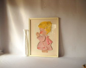 Vintage Girl Picture Vintage Collage Irmi Felt Picture Girl  Praying Young Ideas Original Pink Girl Child's Room Decor